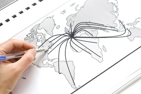 World map with lines between the worlds cities photo