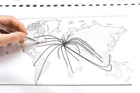 between: World map with lines between the cities Stock Photo