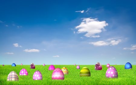 Easter eggs on grass under blue sky and white clouds Stock Photo - 6716605