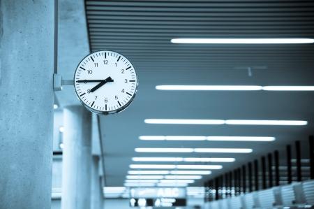 Public Clock In Frankfurt Airport With Copyspace  Editorial