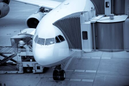freight traffic: Airplane Loading At The Airport And Loading Cargo   Editorial