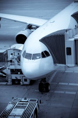 Airplane Loading At The Airport And Loading Cargo   Stock Photo