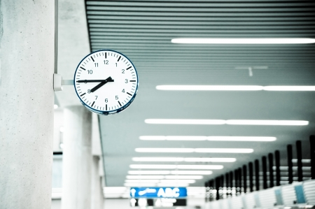 Public Clock In Frankfurt Airport With Copyspace  Stock Photo