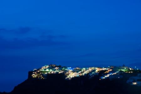 Santorini island at night of Greece photo