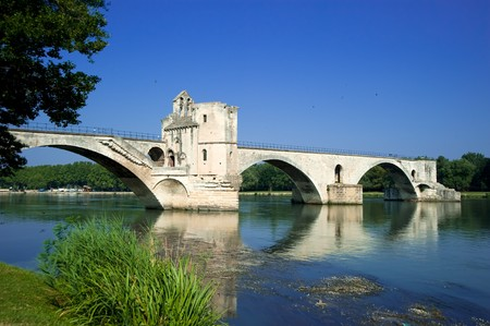 Saint-Benezet Bridge in Avignon,France  스톡 사진