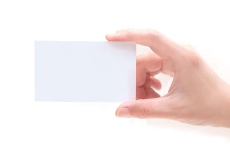 messa: Blank Business Card In Hand