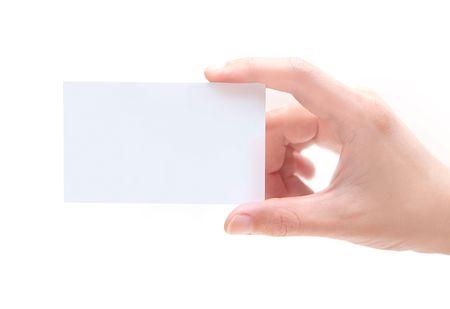 Carte de visite en blanc en main