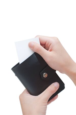 Hand Holding a Blank Card In Wallet photo