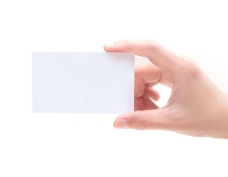 messa: Blank Business Card In Hand Stock Photo
