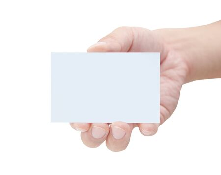 people holding sign: Male hand holding blank card