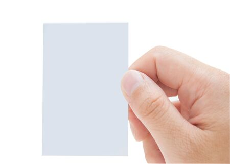 hand holding paper: Male hand holding blank card