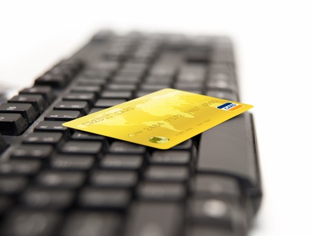 Golden Credit Card On Keybord Stock Photo - 7860623