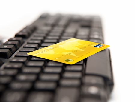Golden Credit Card On Keybord Stock Photo