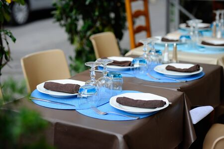 indoor inside: Tableware on the table