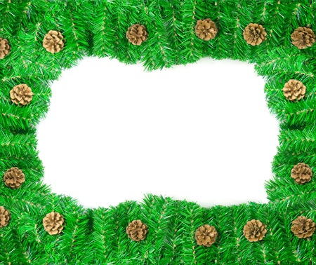 Christmas green framework with Pine needles and cones isolated Stock Photo - 8370702