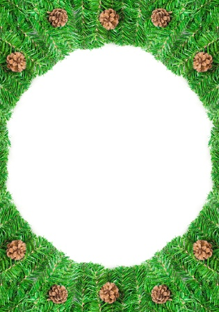 pineal: Christmas green framework with Pine needles and cones isolated
