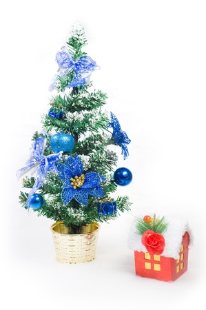 House and christmas tree, abstract holiday background   photo