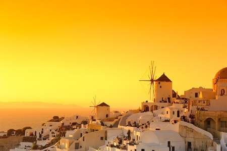 Sunset in Oia village on Santorini island, Greece  Stock Photo - 8367058