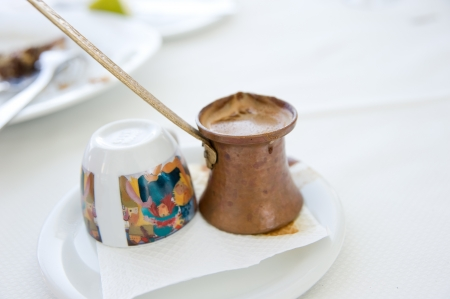 turkish coffee: Vintage Greek coffee pot and cup close-up