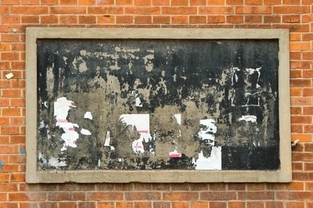 bulletin board: blackboard on wall Brick mortar background