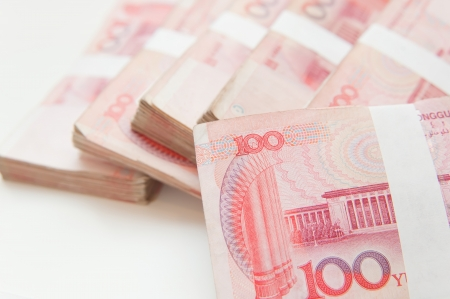 Thousands china currency one hundred RMB yuan isolated on white  Stock Photo