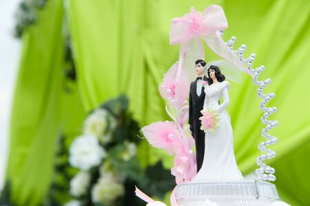 Wedding bride and groom couple doll on cake of an outdoor wedding  Stock Photo - 11611903