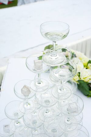 champagne glasses of an outdoor wedding
