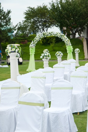Row of decorated chairs on a outdoor wedding