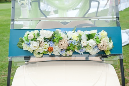 Decorated golf cart for wedding photo