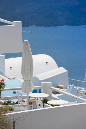 Leisure at a hotel platform of Santorini island,Greece Stock Photo - 17035422