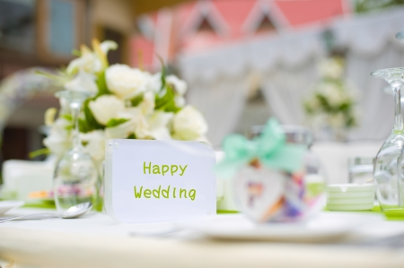 Table set for an party or wedding reception photo