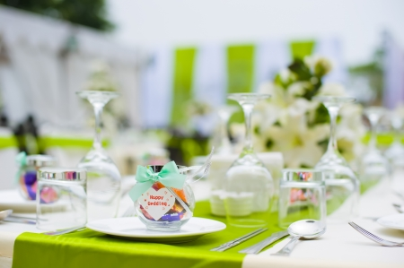 Table set for an party or wedding reception Stock Photo - 15521220