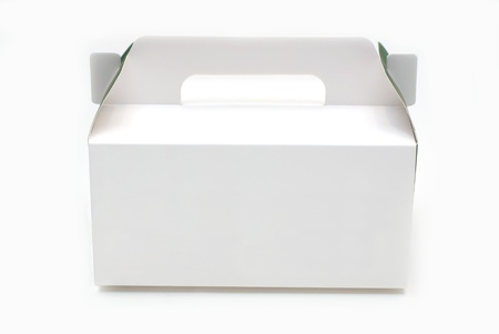 Cardboard box for cake dessert isolated photo