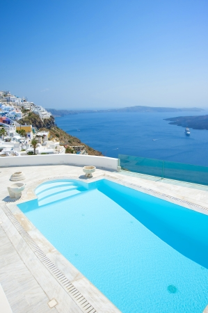 Swimming pool at Santorini island Greece Stock Photo - 16171372