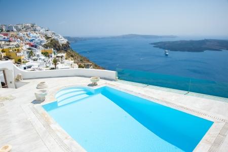 Swimming pool at Santorini island Greece Stock Photo