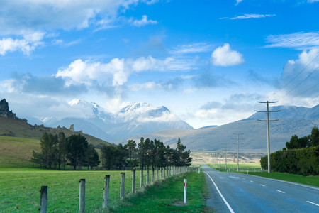 fox glacier: Road,New Zealand Stock Photo