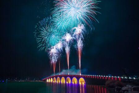 jiangsu: Jiangyin City, Jiangsu Province, Clearwater Lakes fireworks creative map Stock Photo