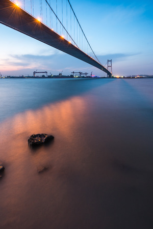 jiangsu: China Jiangsu Jiang Yin Changjiang Bridge Night Scenery