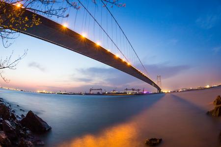 jiangsu: China Jiangsu Jiang Yin Changjiang Bridge Night Scenery