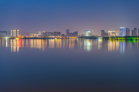jiangsu: Taihu Lake in Wuxi city, Jiangsu Province, China Night Scenery