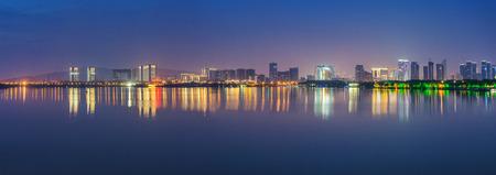 Taihu Lake in Wuxi city, Jiangsu Province, China Night Scenery