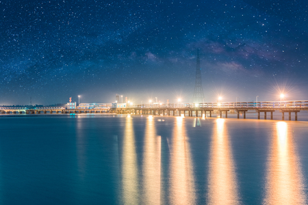yangtze: Jiangyin, Jiangsu Province, China, the Yangtze River port pier night scenery Stock Photo