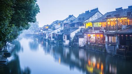 Night view of ancient town of Xitang, Zhejiang Province, China
