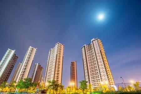 urban housing: Night view of urban housing