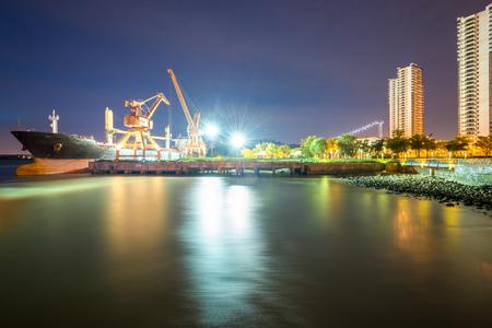 Yangtze River pier scenery at Jiangyin City, Jiangsu Province Stock Photo