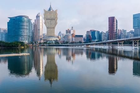cross sea bridge and urban architecture in Macao China