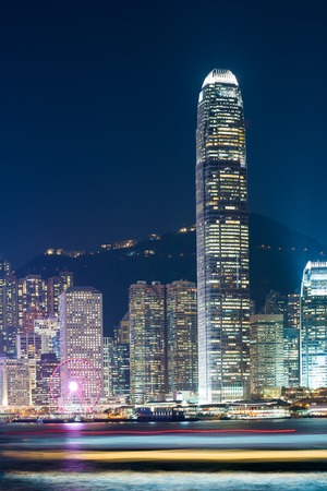 Night view of Victoria harbour city, Hong Kong.