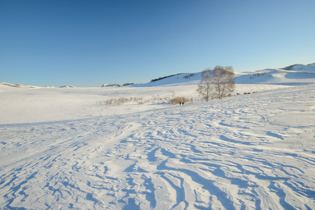Inner Mongolia Chifeng City, winter grassland scenery Stockfoto