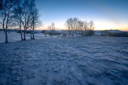 Inner Mongolia Chifeng City, winter grassland scenery Stockfoto