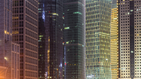 Office towers in a city at night